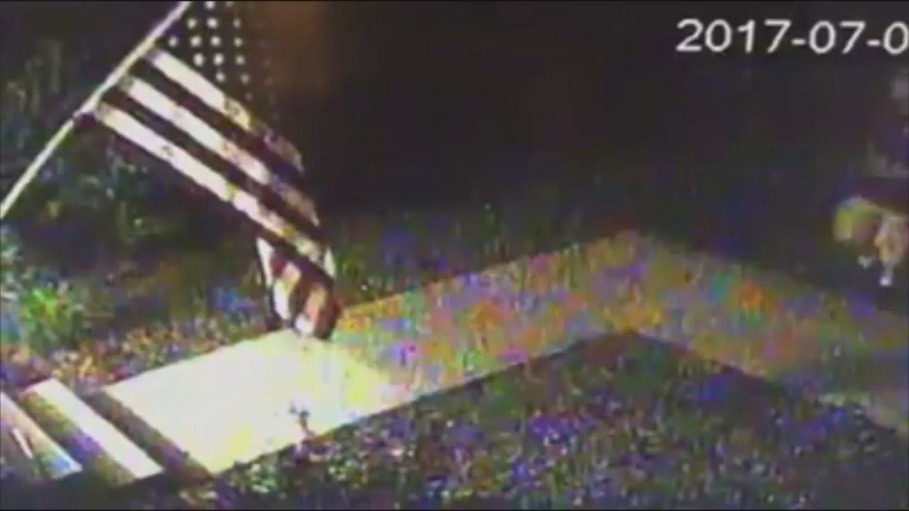 WEB EXTRA: American Flag Theft Surveillance Video