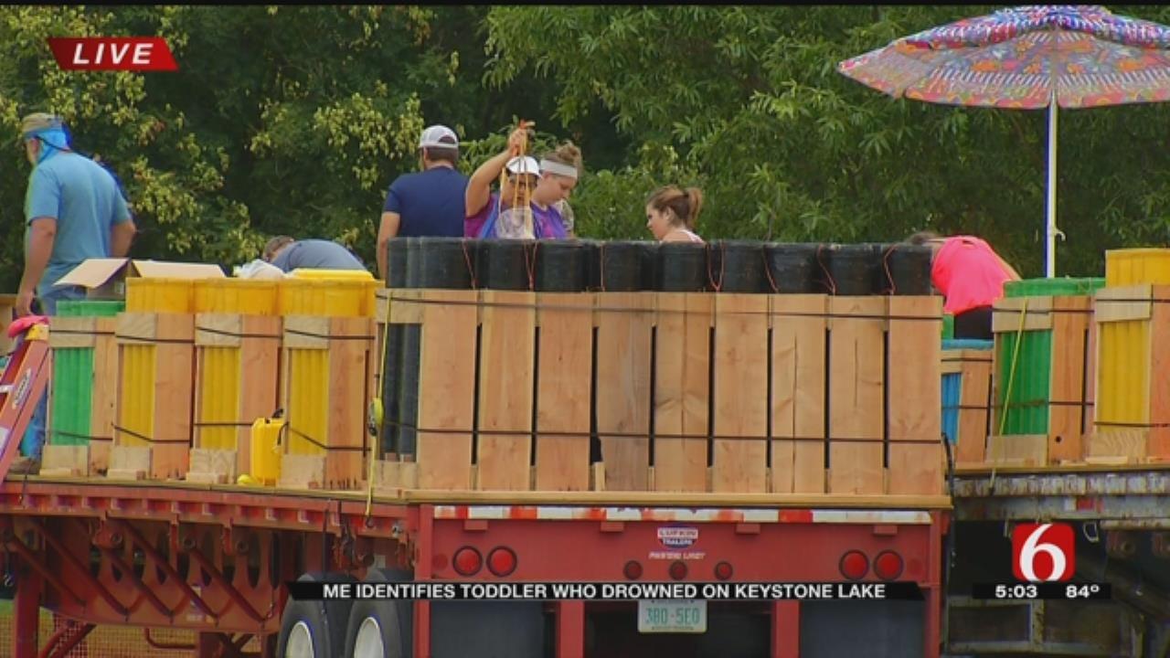 Prep Work For Tulsa's Largest Fireworks Show Underway