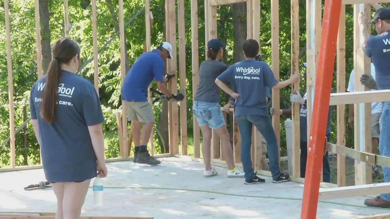 WEB EXTRA: Volunteers Raising Walls At Tulsa Habitat Home