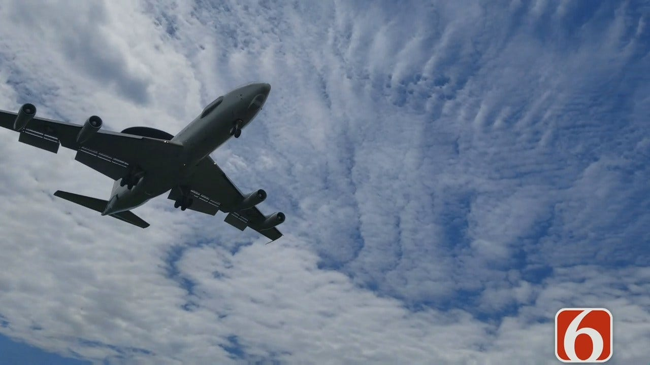 Welcome: AWACS Jet Comes To Tulsa For Practice