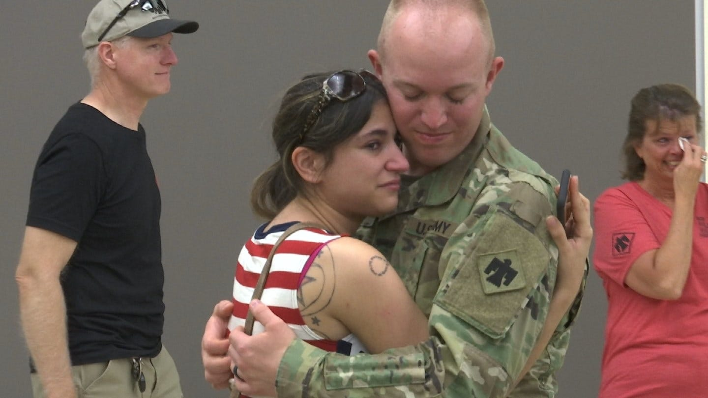 Oklahoma National Guard Soldiers Leave For Middle East