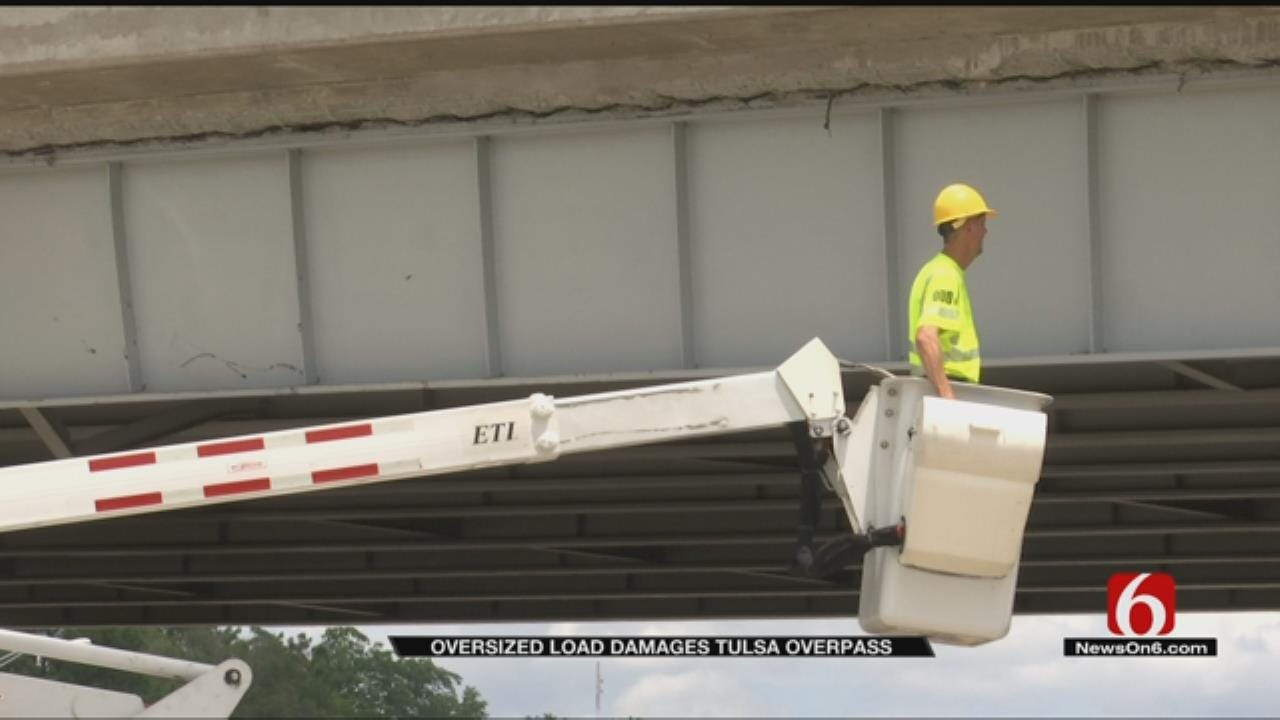 Semi Hauling Backhoe Damages Bridge On Highway 412 In Sand Springs