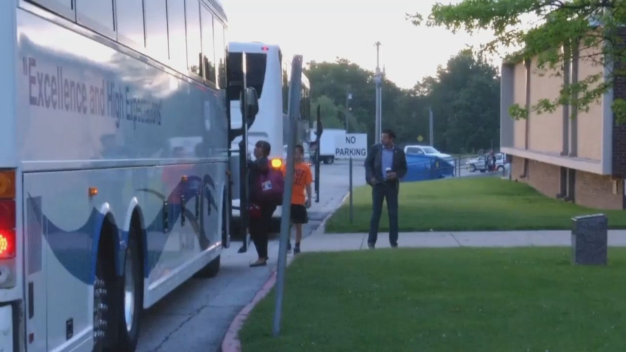 WEB EXTRA: Tulsa Teachers, Supporters Getting On Buses For OKC