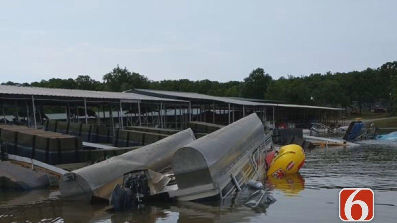 Tess Maune Reports On Storm Damage At Long Bay Marina On Fort Gibson Lake
