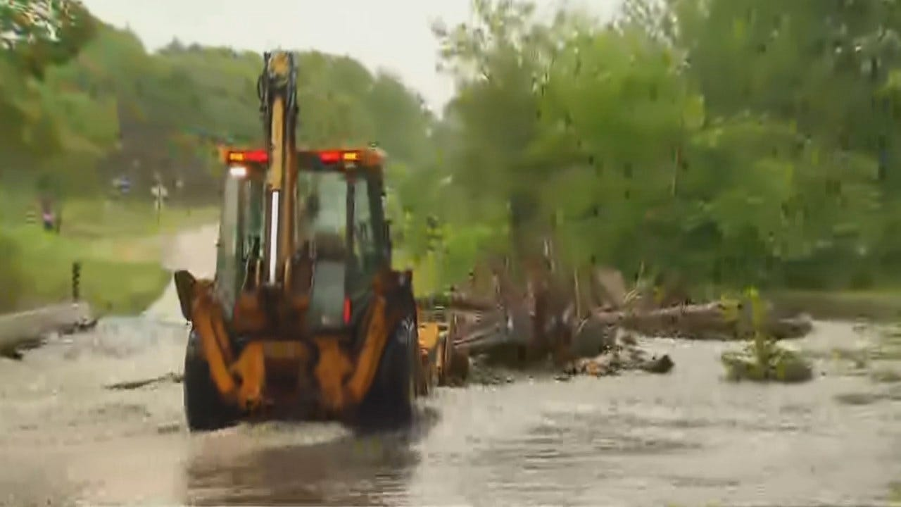 WEB EXTRA: Crews Clear Flooded Creek In Cherokee County