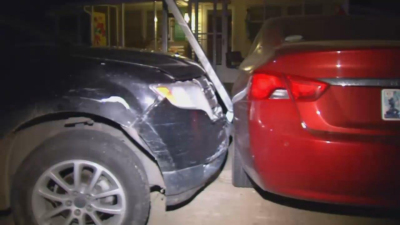 WEB EXTRA: Man Crashes Into Carport During Sapulpa Chase