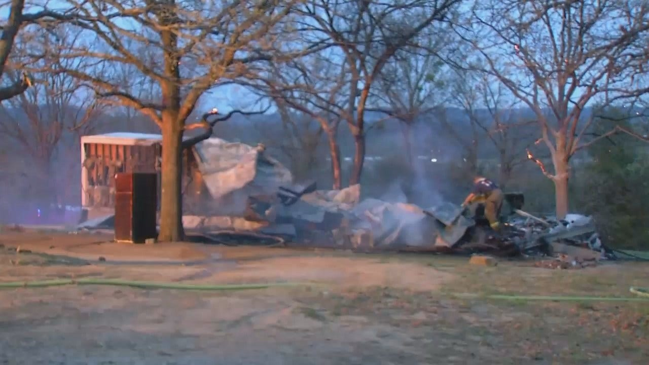 WEB EXTRA: Video From Scene Of Sapulpa Mobile Home Fire