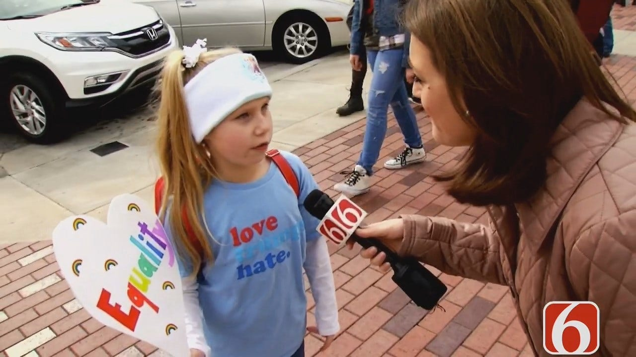 Seven-Year-Old Girl Shares Thoughts At Tulsa Women's March