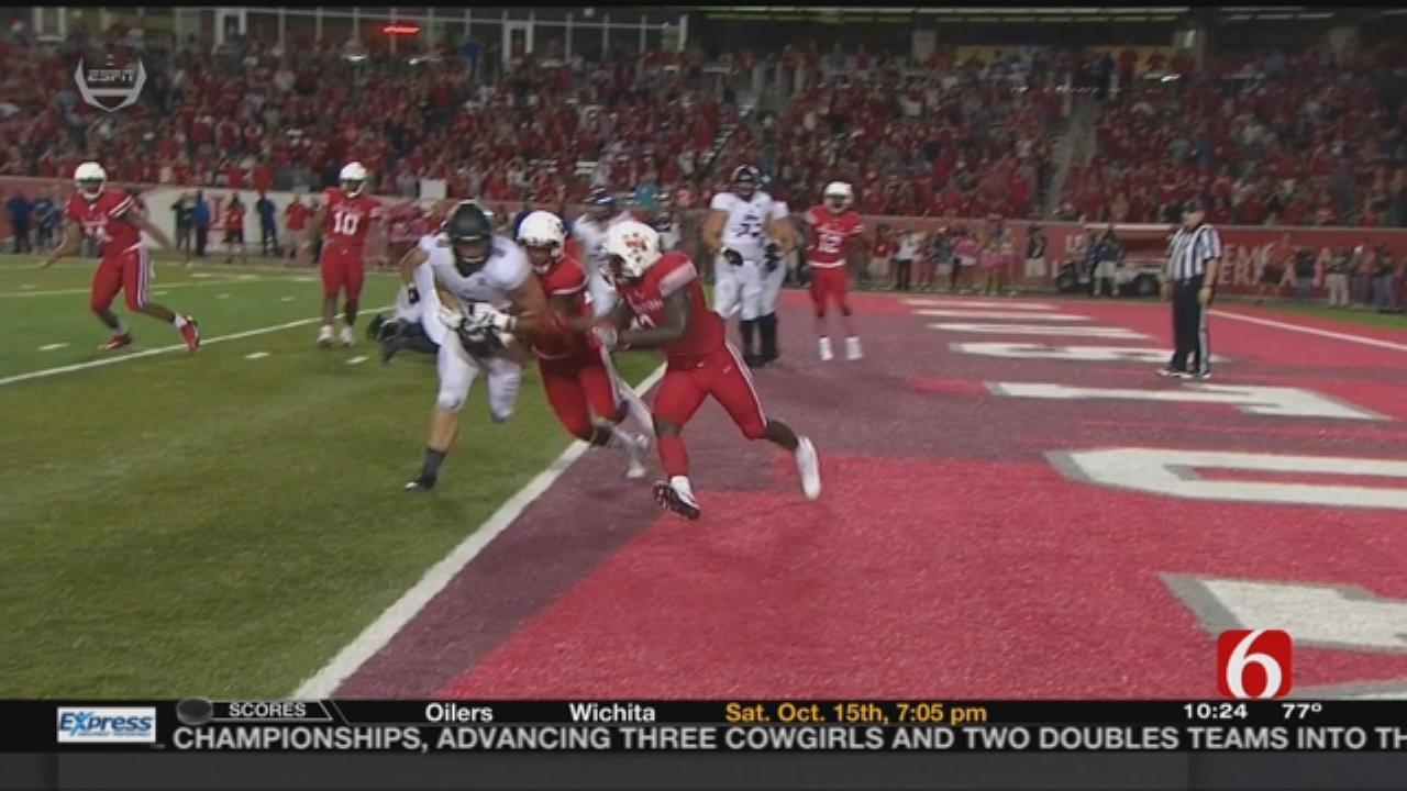 In Wild Finish, No. 13 Houston Holds Off Tulsa 38-31