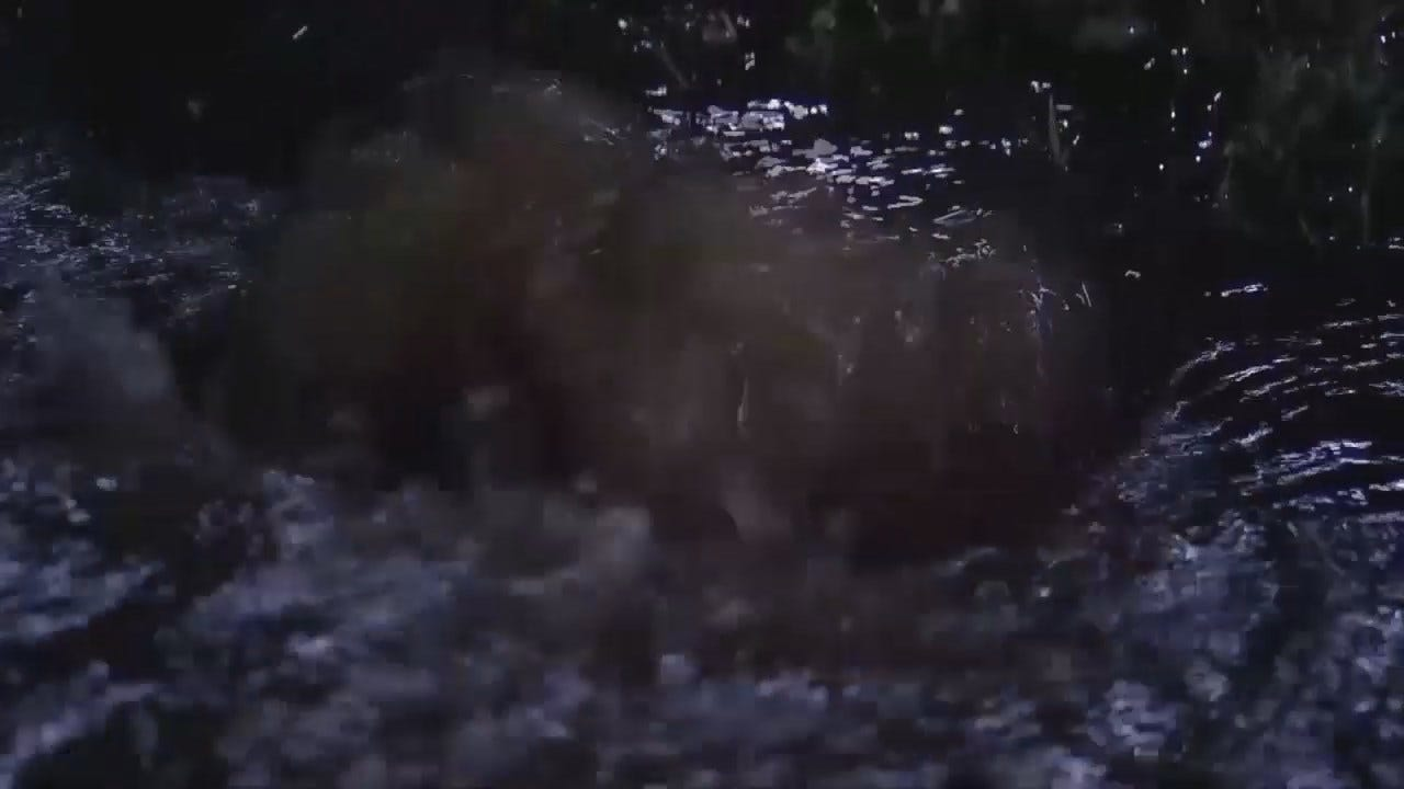 WEB EXTRA: Video Of Flooding From Sand Springs Water Line Break