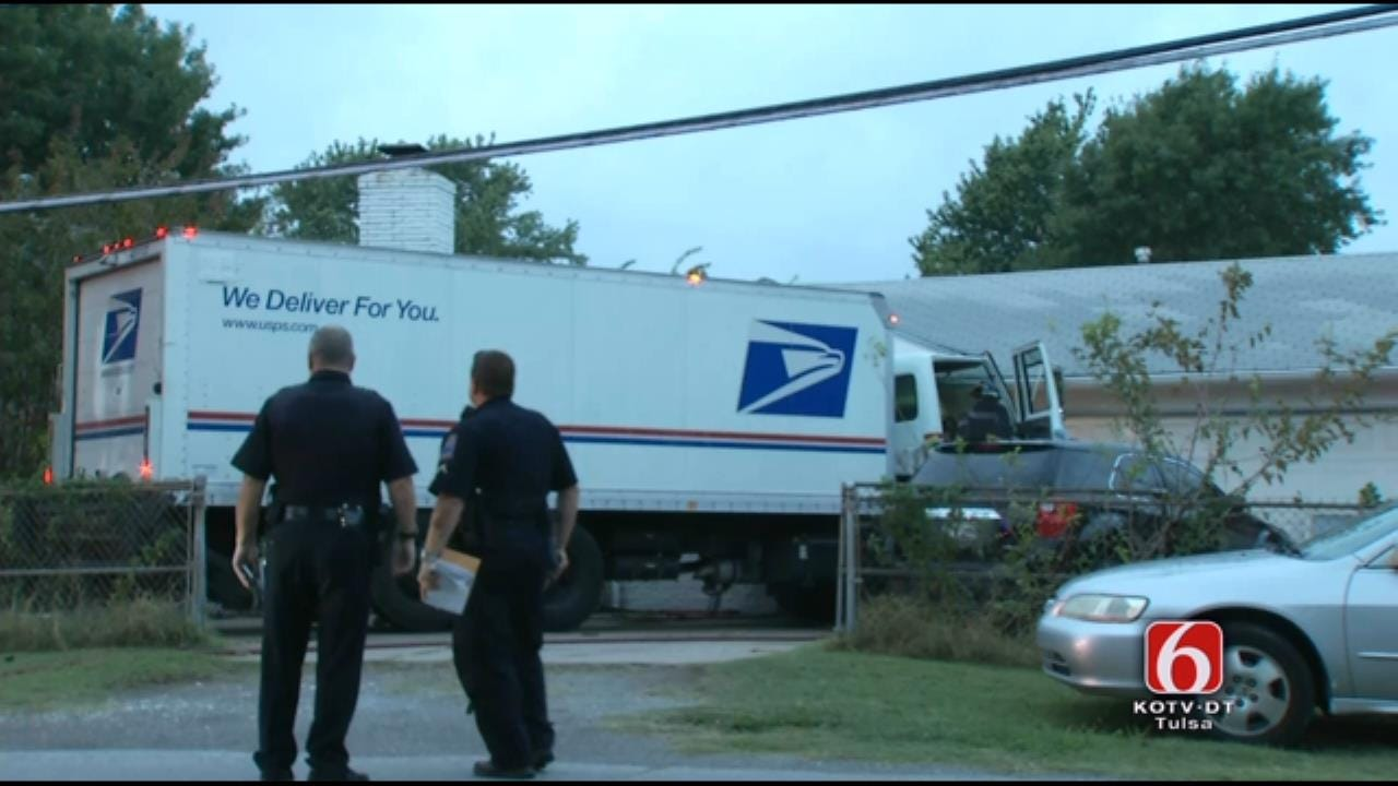 WEB EXTRA: Tulsa Mail Delivery Truck Driver Taken To Hospital After Crash