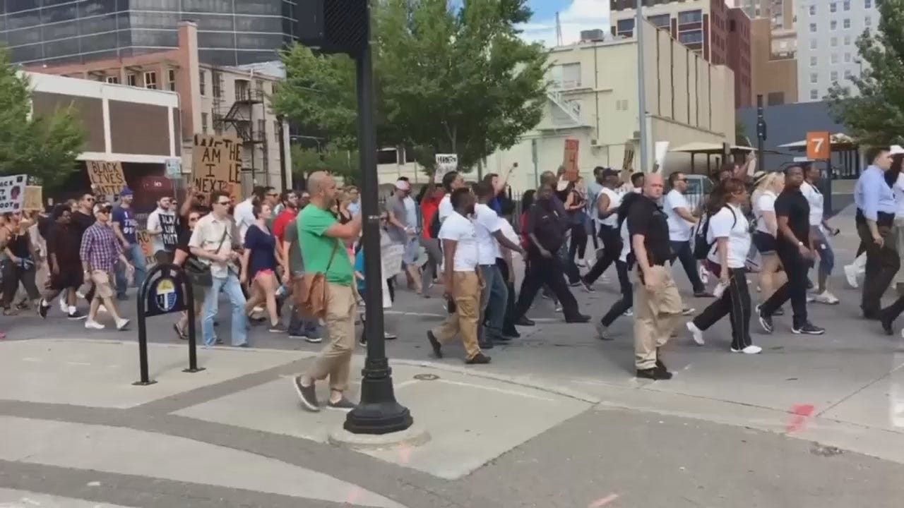 WEB EXTRA: Video Of March To Tulsa County Courthouse