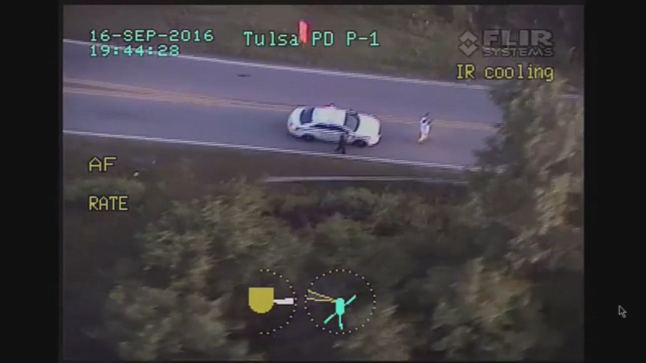 Tulsa Police Helicopter View Of Terrence Crutcher Shooting