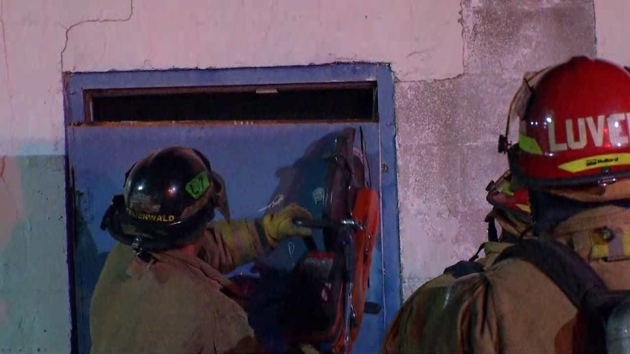 WEB EXTRA: Tulsa Firefighters Cut Their Way Into Restaurant