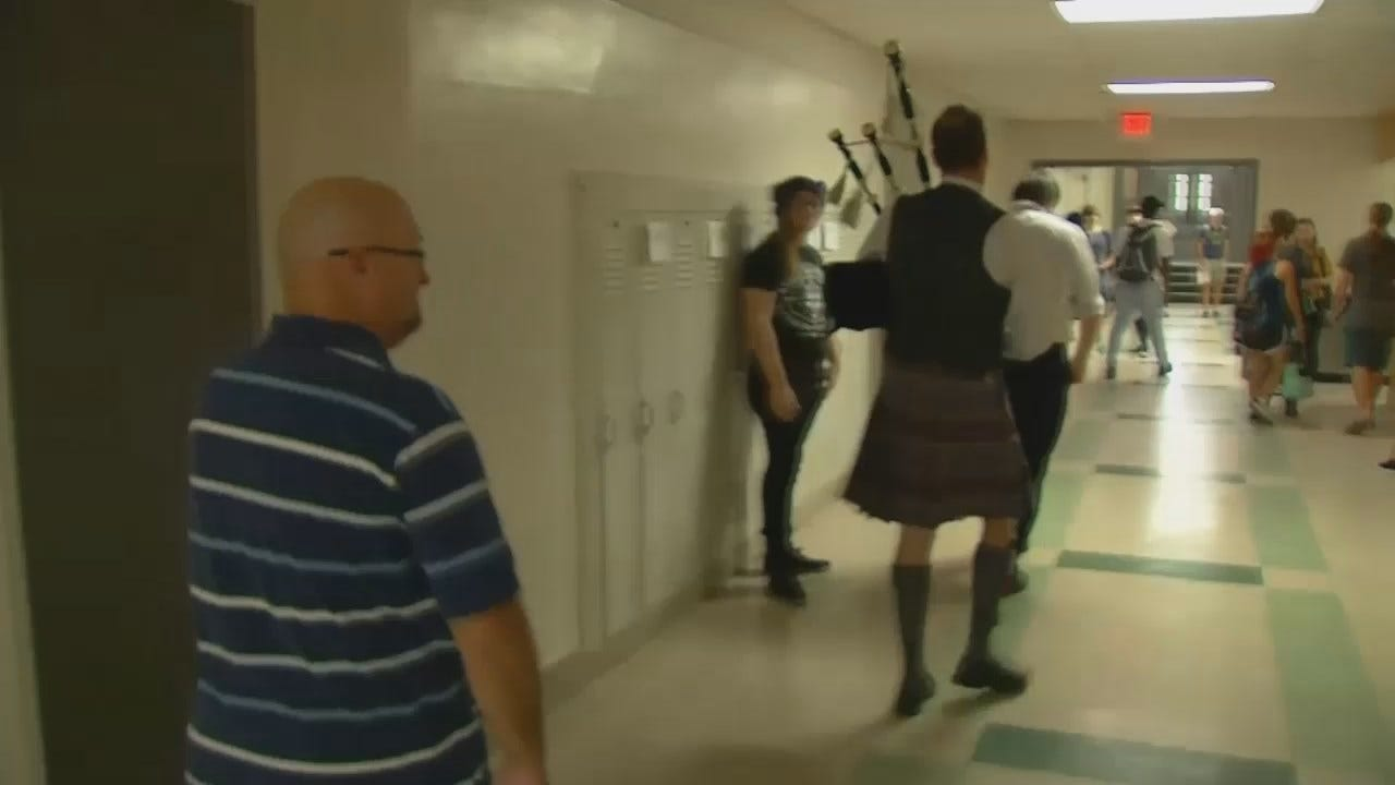 WEB EXTRA: Bag Pipes Welcome Students Back To TSAS