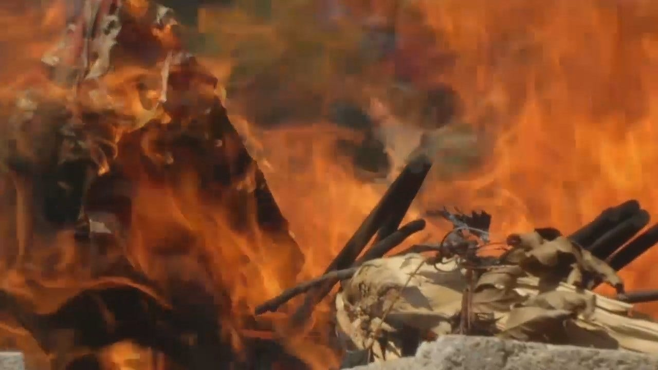 WEB EXTRA: ROTC Cadets, American Legion Honor Flags Lost In Fire