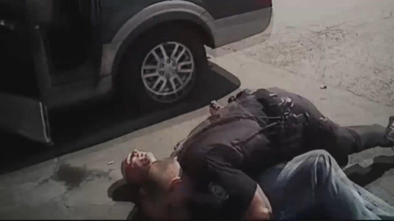 WEB EXTRA: Bodycam Shows Sand Springs Police Take Down Robbery Suspect