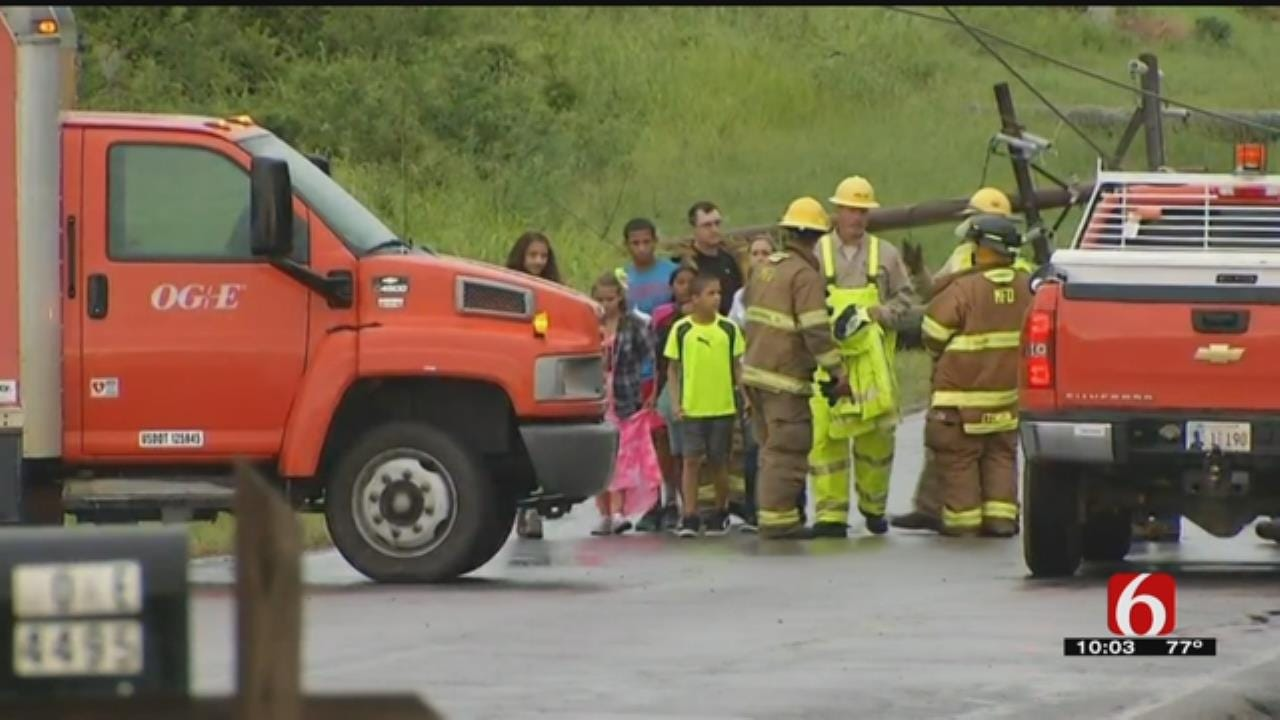 Firefighters Rescue Families Trapped By Down Power Lines In Muskogee