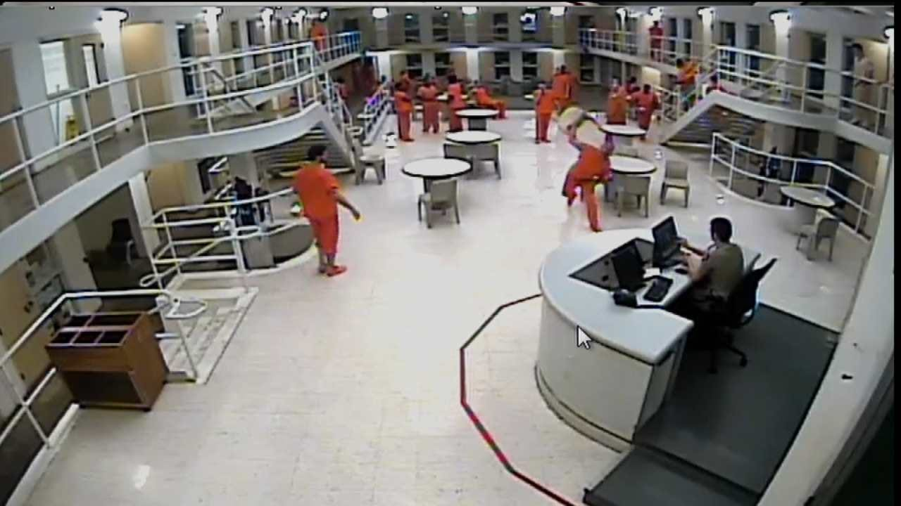 WEB EXTRA: Tulsa Jail Video Shows Inmate Throwing Chair