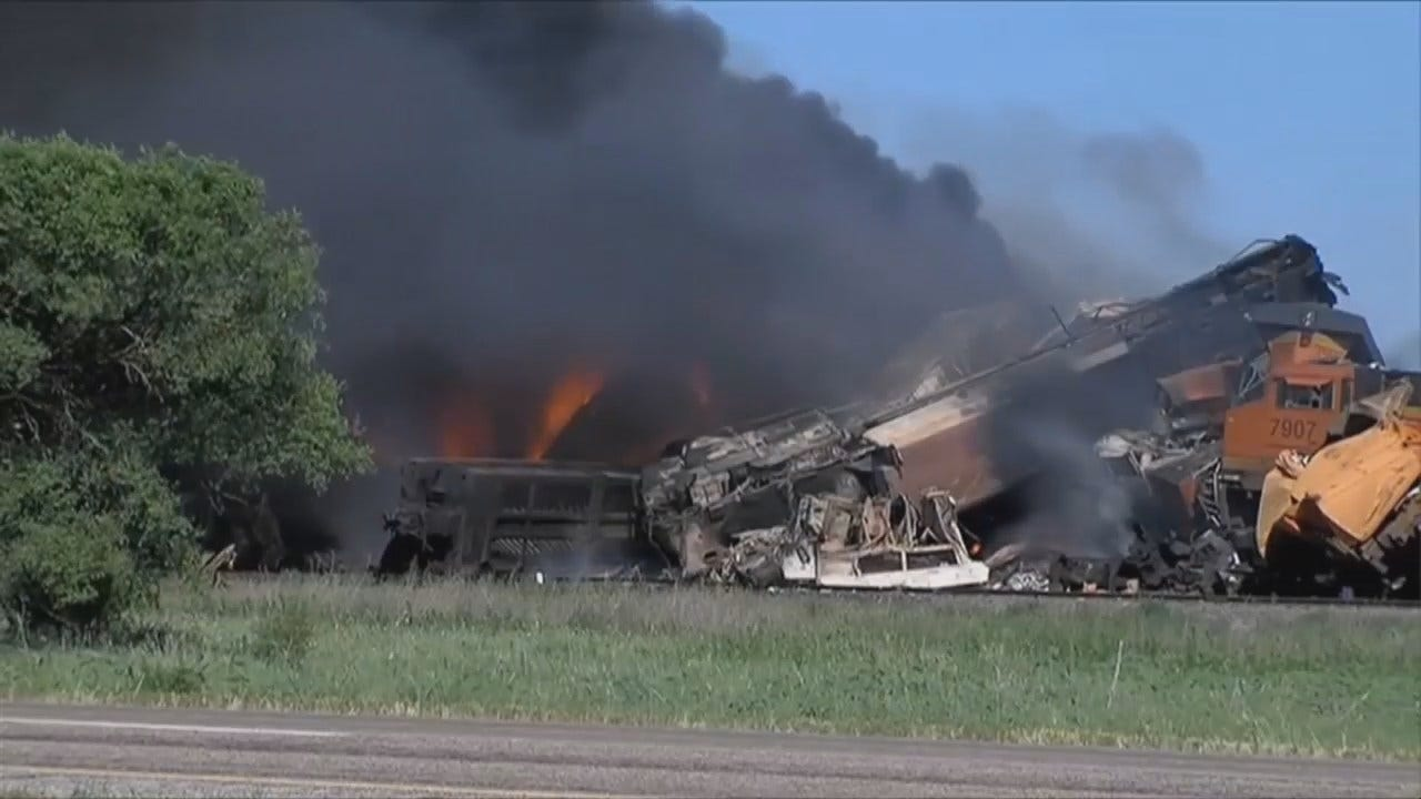 WEB EXTRA: Video From Train Collision Fire In Texas Panhandle