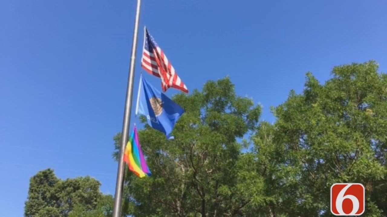 Emory Bryan Reports On Rainbow Flag Flying Outside Tulsa Public Schools Office