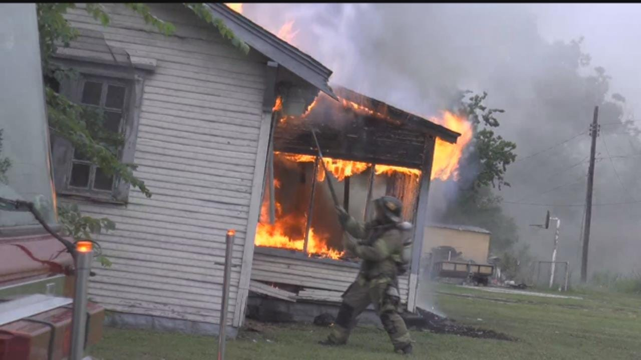 WATCH: Tulsa Firefighters Knock Down House Fire