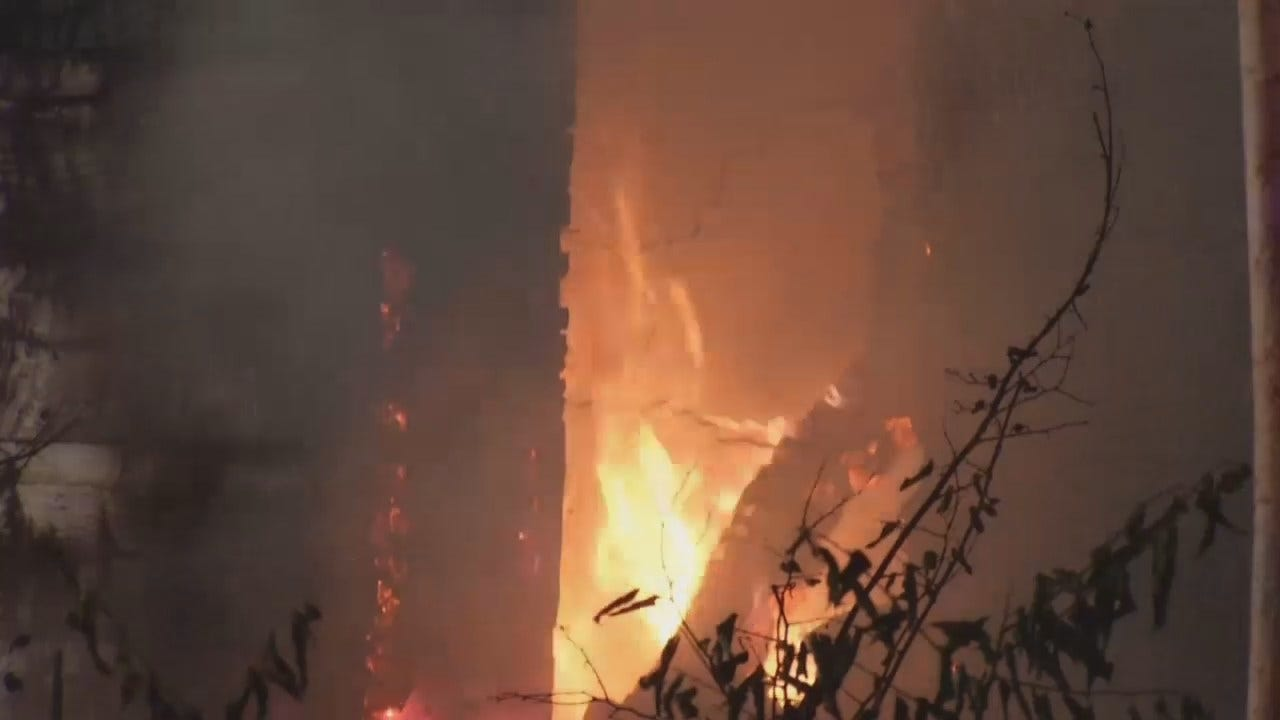 WEB EXTRA: Video From Scene Of East Tulsa County House Fire