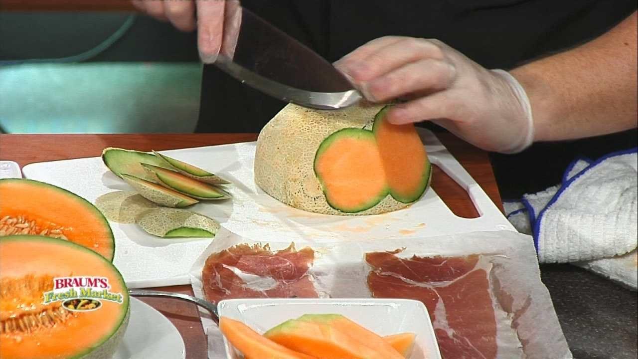 Prosciutto Ham Slices Wrapped Around Cantaloupe Slices
