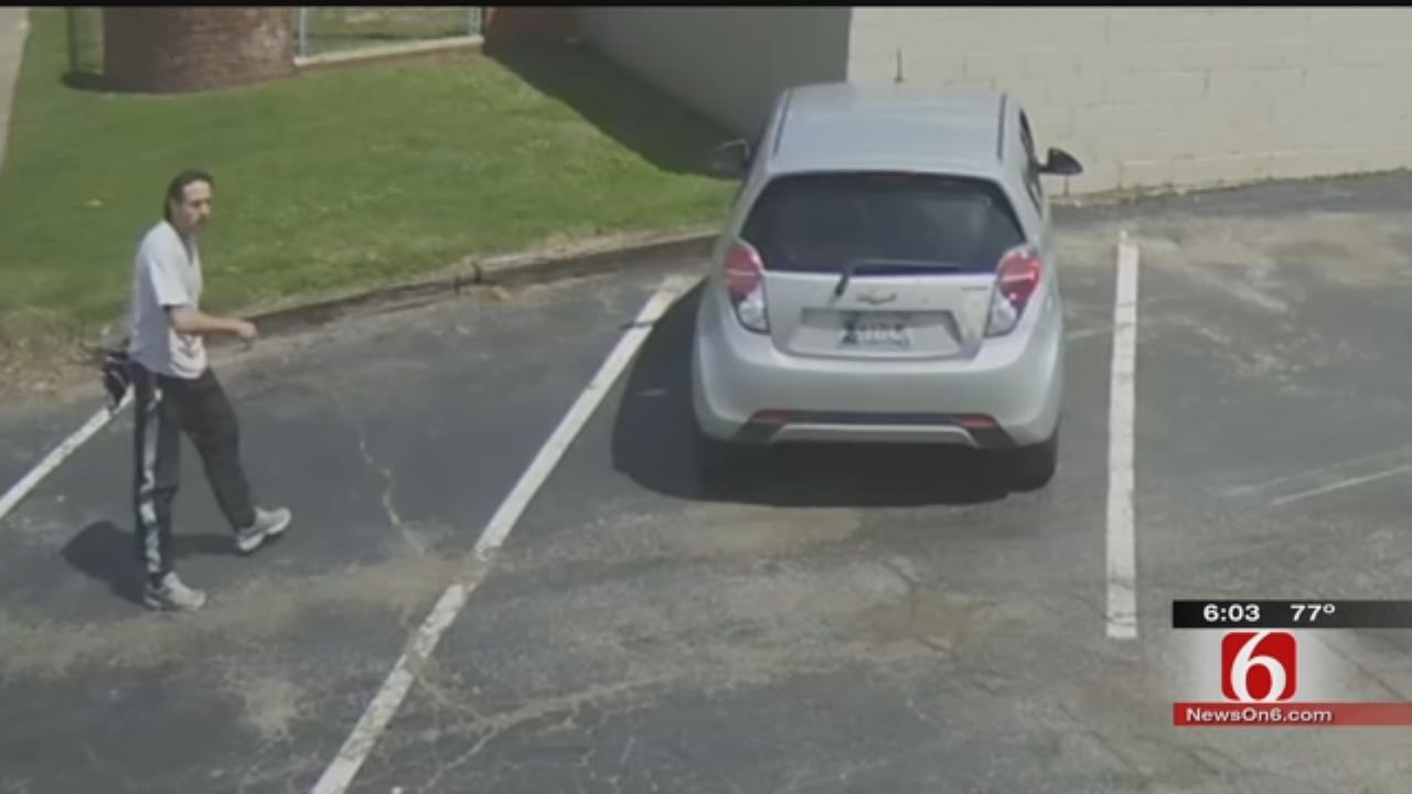 Surveillance Footage Shows Car Being Stolen In Tulsa