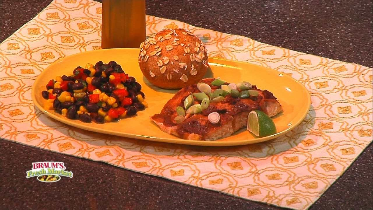 Raspberry Chipotle Glazed Salmon & Southwest Bean Salad