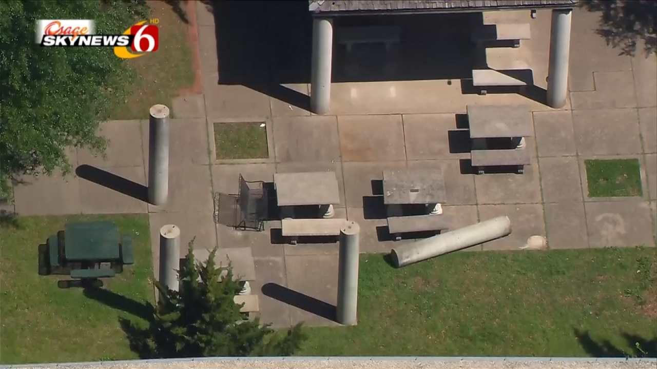 Osage SkyNews 6 Flies Over Edison Pillar That Injured Student