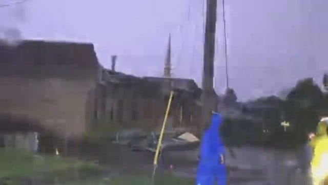 WEB EXTRA: Video Of Downtown Checotah Storm Damage