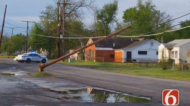 Dave Davis Reports On Downed Pole Closing Tulsa Street
