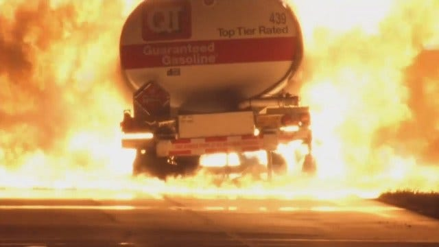 OHP: Overheated Brakes Believed Started Tulsa County Fuel Truck Fire
