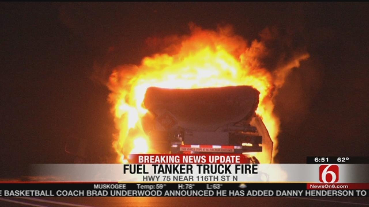 Tanker Fire Shuts Down Highway 75 In Owasso