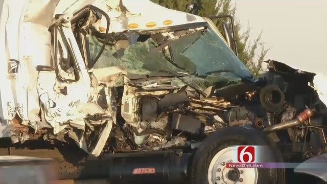 WEB EXTRA: Two Trucks Collide On Route 66 In Rogers County