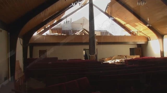 WEB EXTRA: Video Of Damage Inside Tulsa's Bethel Seventh-Day Adventist Church