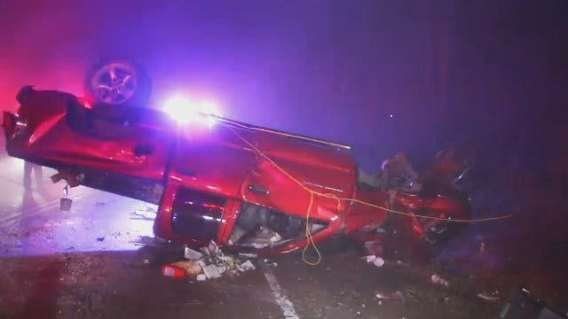 Police Say Wet Road, Speed Lead To Tulsa Rollover Crash