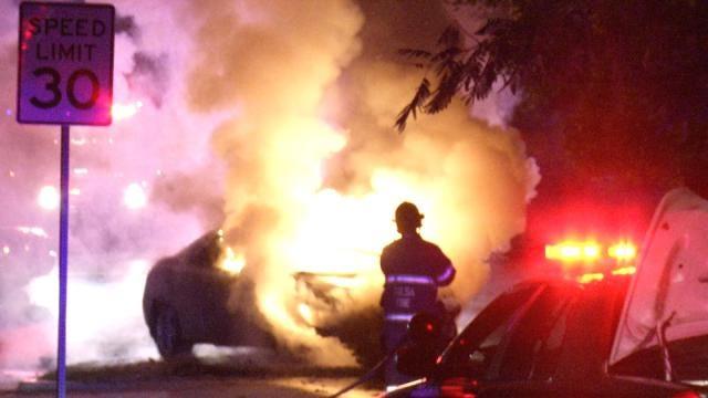WEB EXTRA: Stolen Car Crashes, Burns In Tulsa