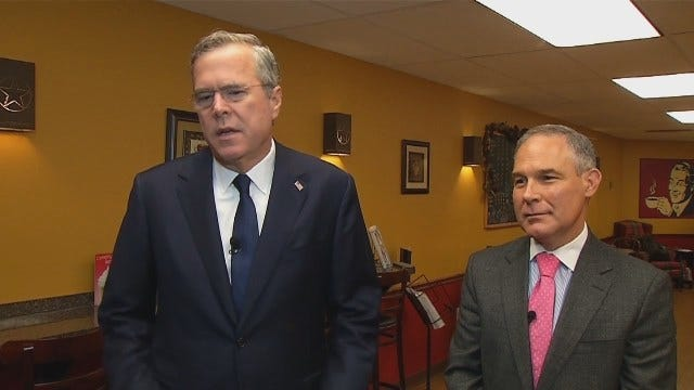 WEB EXTRA: GOP Presidential Candidate Jeb Bush Talks About Scott Pruitt's Role In Campaign
