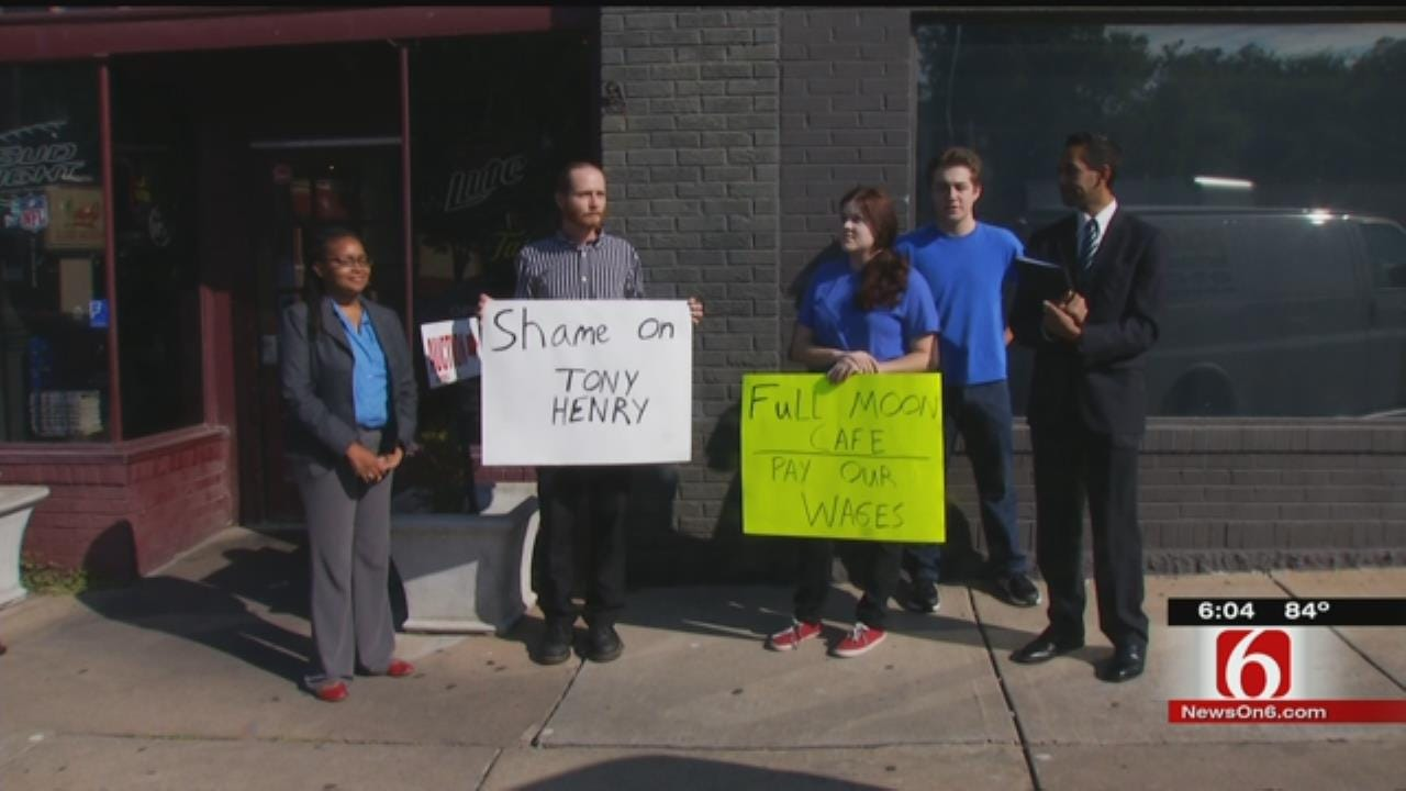 Unpaid Employees Hold Protest Outside Full Moon Café Auction