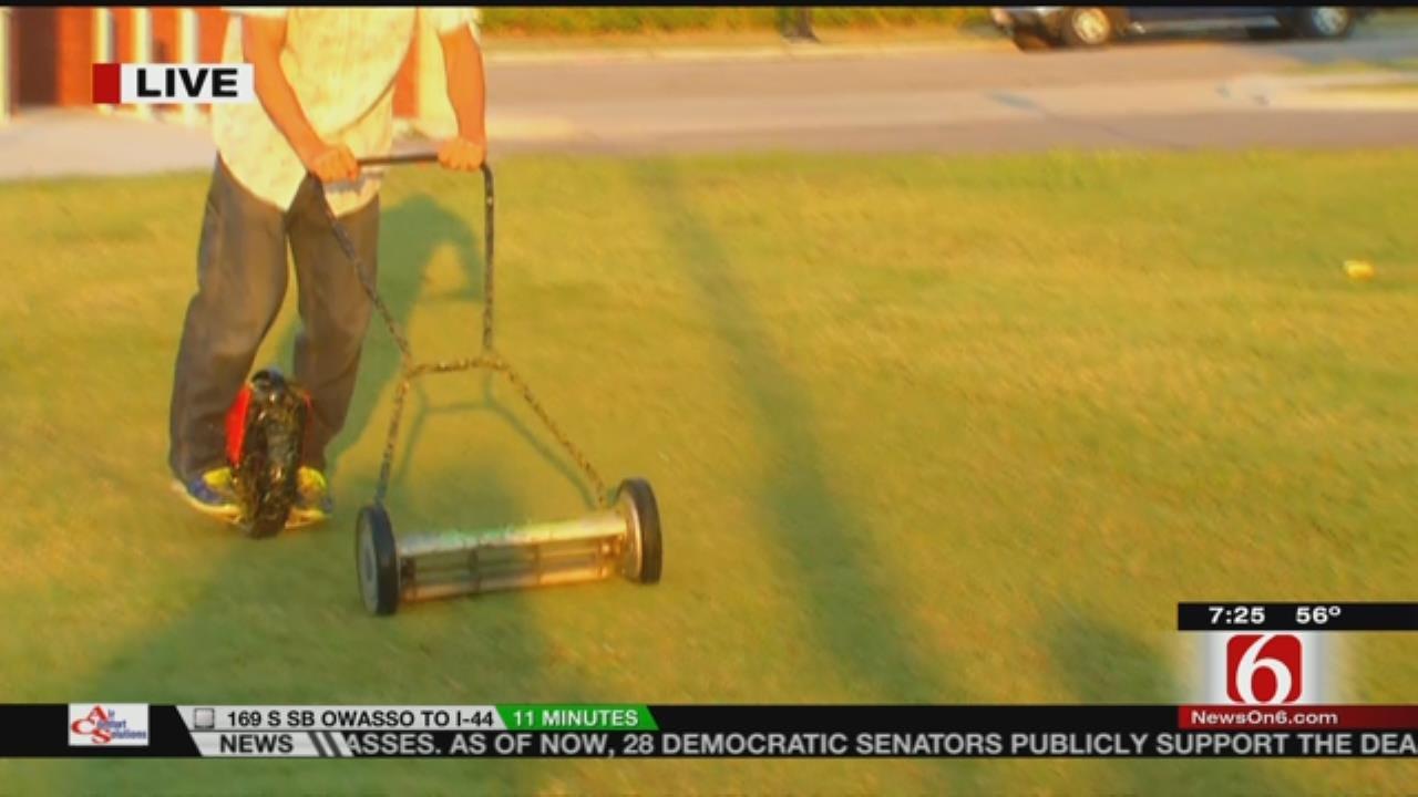 Tulsan Jeff Mickle Demonstrates His 'Hillbilly Lawnmower'