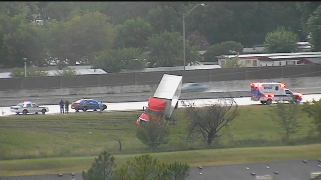 WEB EXTRA: Semi Goes Off Road On Wet Tulsa Highway