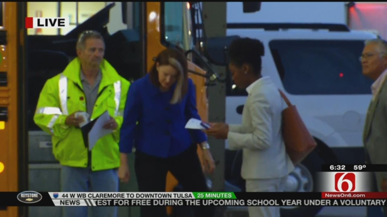 WEB EXTRA: Tulsa School Buses Head Out On First Day Of School