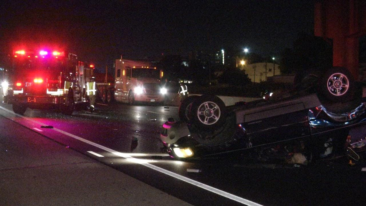 WEB EXTRA: Two Injured In Tulsa Rollover Wreck