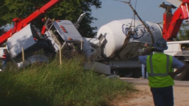 WEB EXTRA: Video Of The Tow Trucks Lifting Crashed Concrete Truck