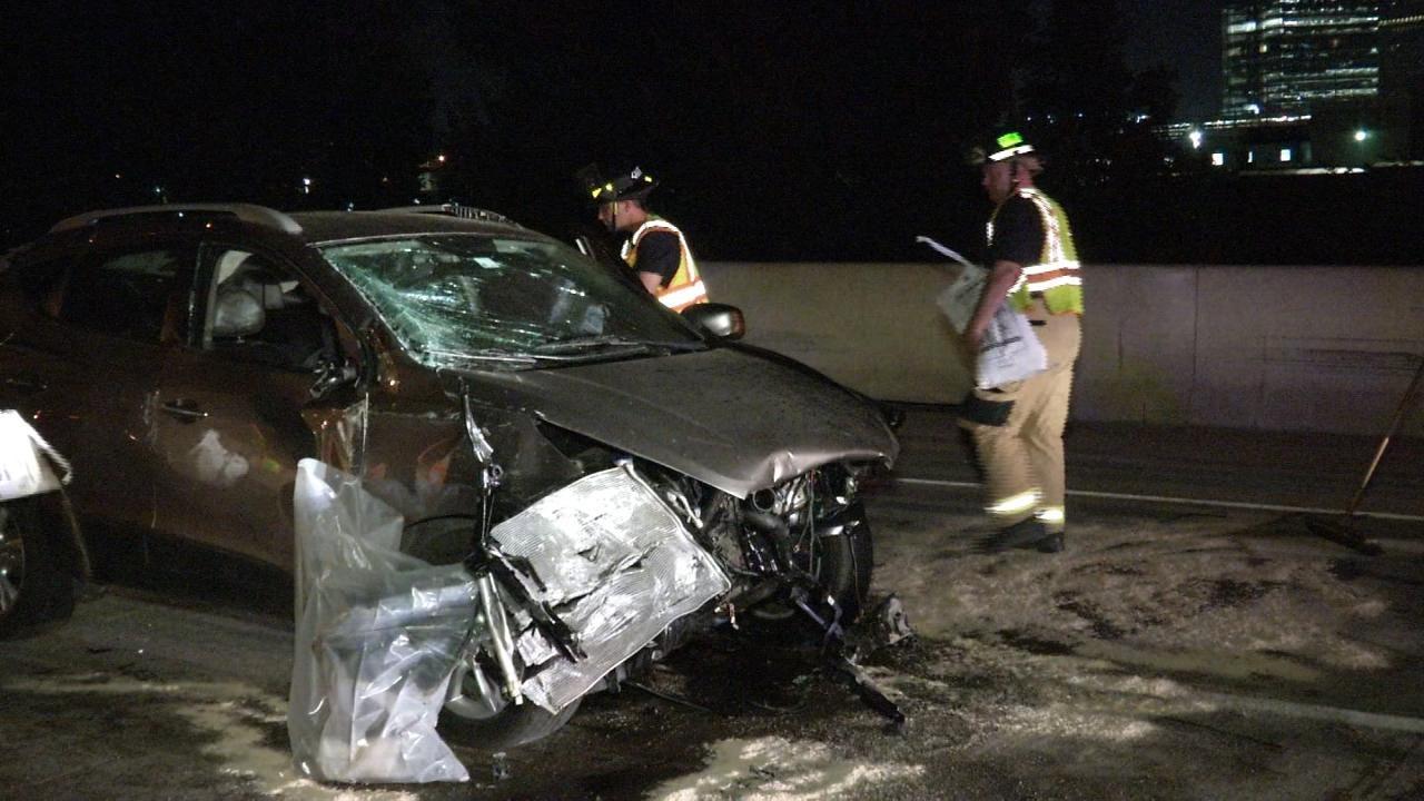 WEB EXTRA: Car Crashes Into Tulsa Concrete Barrier