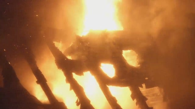 WEB EXTRA: South Tulsa Home Badly Damaged By Fire