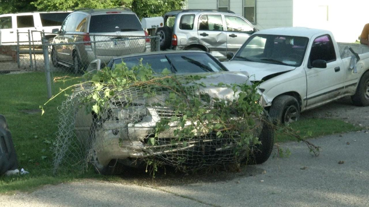 WEB EXTRA: Tulsa 'Rolling Domestic' Ends In Crash, Property Damage