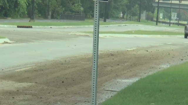 WEB EXTRA: Video Of Dirt Spill On Tulsa's Riverside Drive